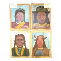 Four c1970 Original Indian Chief Paintings Outsider Art