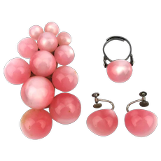 Pink Thermoset Lucite Sterling Silver Ring Earrings Plus Clip
