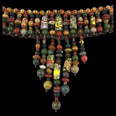 Designer African Trade Bead Gemstone Choker Necklace w/ Provenance