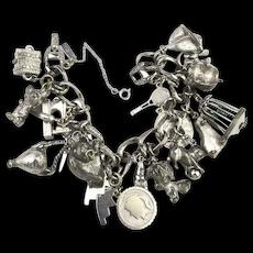 Vintage MONET Chunky Chock Full Charm Bracelet