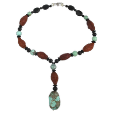 Necklace w/ Hand Carved Chinese Olive Pits - Antique Turquoise - Onyx - Sterling Silver