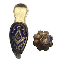 The Tiniest Masonic Victorian Era Lapel Pin w/ Shoe Pin Gold Vermeil