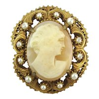 Vintage FLORENZA Carved Shell Cameo Pin Brooch Pendant