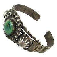 Fred Harvey Era Navajo Sterling Silver Cuff Bracelet Genuine Turquoise