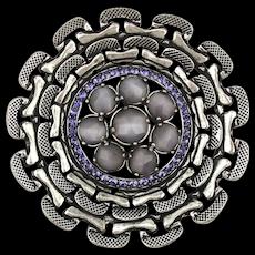Great Big GIVENCHY Pin Brooch w/ Subtle Purple Rhinestones