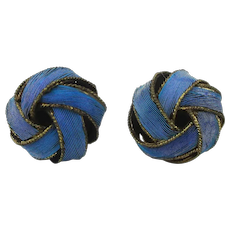 Vintage Chinese Kingfisher Feather Stud Earrings Infinity Knot