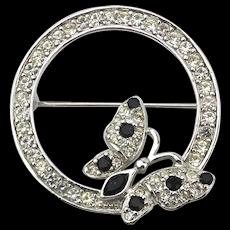 Vintage TRIFARI Rhinestone Circle Pin Brooch w/ Butterfly