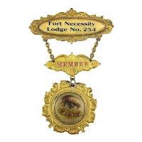 1800s I.O.O.F. Odd Fellows MEMBER Badge Metal Ribbon Pa.