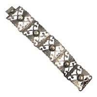 Early Mexican Sterling Silver Wide Panel Link Bracelet - Cut-Outs