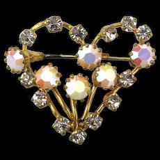 Vintage Austrian Crystal Blazing Heart Pin Brooch