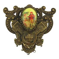 Charming Couple in Ornate Antique Brass Frame Pin Brooch