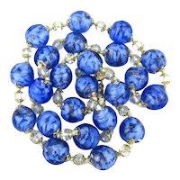 Murano Art Glass Blue Bead Necklace