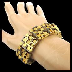 Boxy Chunky Brutalist Link Bracelet Goldtone Silvertone