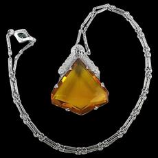 Art Deco 1920s Necklace Amber Glass Rhodium Bright