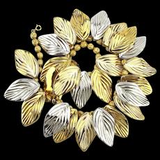 Vintage NAPIER Enamel Gold / Silver Tone Leaf Necklace