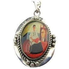 Vintage Frida Kahlo Self Portrait Pendant Necklace Mexican Style