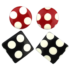 Mod Polka Dots on Squares n Circles Lucite Earrings
