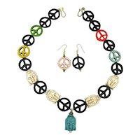 Vintage Stone PEACE BUDDHA Symbol Necklace - Earrings Set