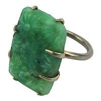 Vintage Czech Jade Glass Ring