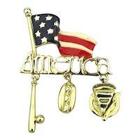 Danecraft AMERICA Flag Pin Brooch w/ Symbol Charms
