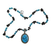 Sterling Silver Block Turquoise - Onyx Bead Necklace