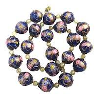 Vintage Venetian Art Glass Wedding Cake Beads Necklace / Earrings