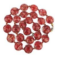 Venetian Red  Glass Beads w/ Gold Flecks Necklace