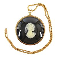 Off The Wall English Pony Tail Cameo Pendant Necklace