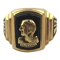 10K Gold Emerson H.S. Ring 1946 w/ Orig. Box