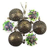 Old Bronzetone Floral Glass Necklace - Odd and Pretty