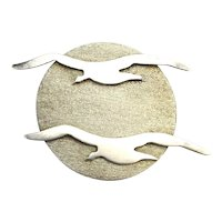 Taxco Seagulls Across the Sun Sterling Silver Pin
