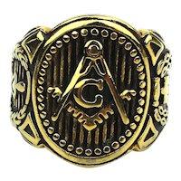 Big Masonic Goldtone Souvenir Fraternal Ring 12.5