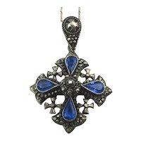 Great Old 950 Silver Jerusalem Jordan Cross Necklace