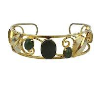 Gold-Filled Openwork Cuff Bracelet w/ Jade Stones