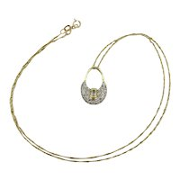 Estate 14K Gold Necklace - Mini Purse w/ Diamond Front Necklace
