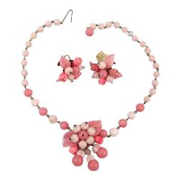 W. Germany Pink Glass Cluster Necklace Earrings Set
