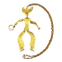Jointed Goldtone Cowboy Pendant Necklace - Amazing Moves