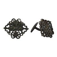 Fine 835 Silver Art Nouveau Cufflinks Pierced Design Signed CB