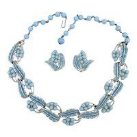 Great Coro Necklace Earrings Set Enamel Blue Blast from the Past