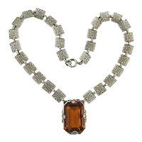 Unique 1930s Art Deco Amber Crystal Filigree Necklace