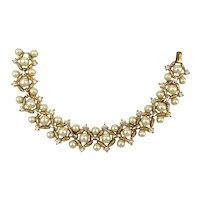 Crown Trifari Faux Pearl Rhinestone Bracelet