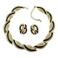 TRIFARI Black Enamel Gilt Rope Necklace Earrings Set
