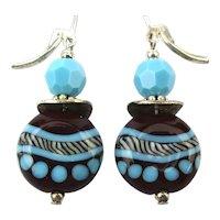Sterling Silver Black n Turquoise Art Glass Dangle Earrings
