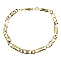 Mens 14K Yellow Gold Bracelet Double Bar Links 8 Inches
