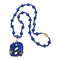 Carved Lapis Lazuli Foo Dogs Pendant Fine Bead Necklace