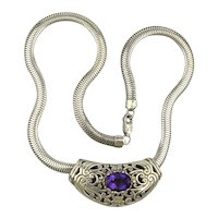 Ornate Sterling Silver Pendant on Wide Mesh Snake Chain Necklace