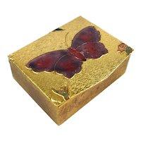 Gilded Brass Miniature Box Enamel Butterfly Italy for Sak's