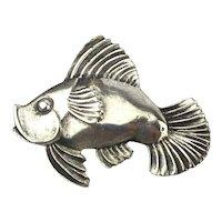 Big Fat Sterling Silver Danecraft Fish Pin Brooch