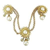Vintage Whatsit - 3 Pins - 4 Chains - Faux Glass Pearls