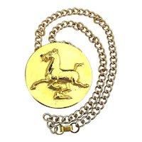 Vintage ALVA MUSEUM Large Flying Horse Pendant Necklace